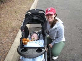 Running with baby Sawyer when he was 4 months old